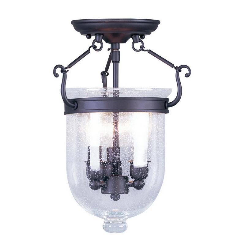 Livex Lighting 5081-07 3-Light Ceiling Fixture 60 Watt Bronze Jefferson