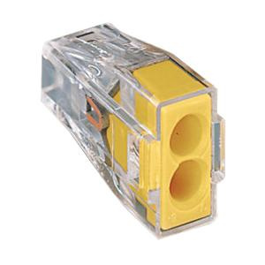 Wago 773-162 2-Port Push-In Wire Connector 18-12-AWG Yellow/Transparent on home wiring, aluminium wire, canadian electrical code, power cable, electrical wiring in north america, western union splice, screw terminal, mineral-insulated copper-clad cable, knob and tube wiring, electrical wiring, electrical connector, electrical conduit, crimp connection, rat-tail splice, crocodile clip, ac power plugs and sockets,