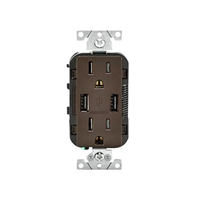 Leviton T5632-B Residential Grade Tamper-Resistant Straight Blade Decorator Combination Duplex Receptacle/Outlet and USB Charger 15 Amp 125 Volt AC NEMA 5-15R Brown Decora®