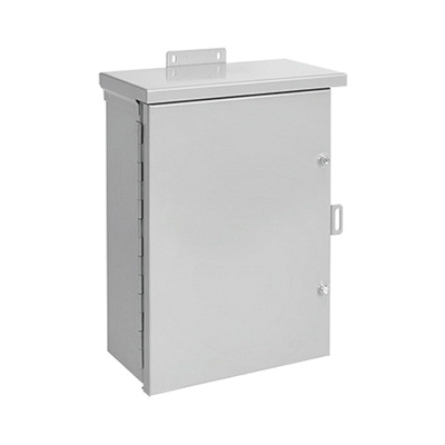 Hoffman A20R166HCR NEMA 3R Polyester Powder Paint Galvanized Steel Medium Hinged Cover Enclosure 16 Inch x 20 Inch x 6 Inch ANSI 61 Gray