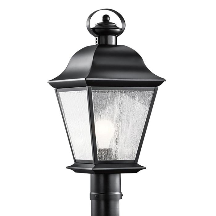 Kichler 9909BK 1-Light Outdoor Post Light 150 Watt 120 Volt Black Mount Vernon
