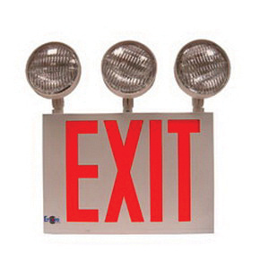 Encore Lighting Lc8 3 Series Head Self Ed Combination Exit Sign With Emergency Led White Powder Coated Housing Red Letter