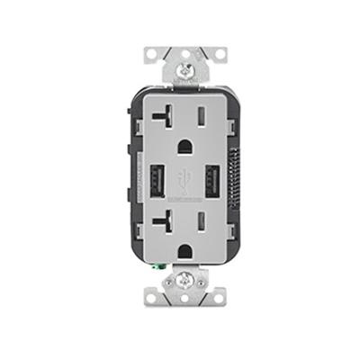 Leviton T5832 Gy Residential Grade Tamper Resistant Combination
