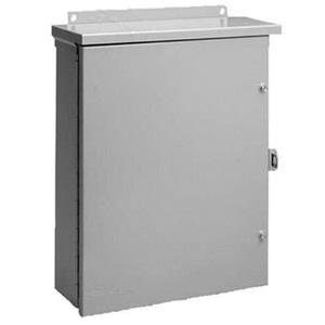 Hoffman A24R2410HCR NEMA 3R Polyester Powder Paint Galvanized Steel Medium Hinged Cover Enclosure 24 Inch x 10 Inch x 24 Inch ANSI 61 Gray