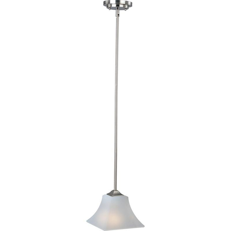Maxim Lighting 92090FTSN 1-Light Mini Pendant Fixture 100 Watt 120 Volt Satin Nickel Aurora