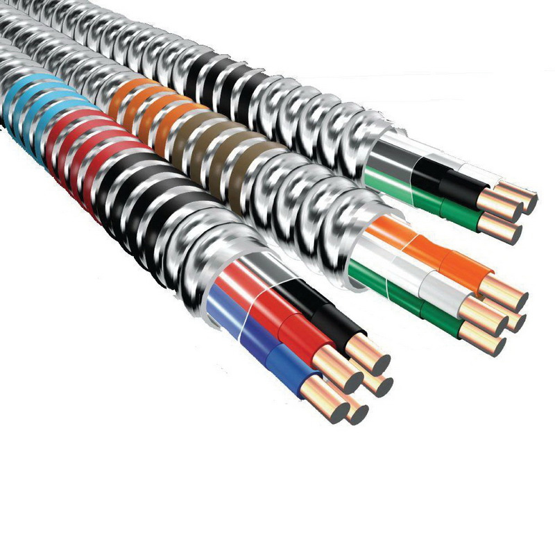 Copper Conductor Aluminum Armored High Voltage MC Armored Cable With Grounding 12/3 250 ft Coil Brown/Orange/Gray Green (Ground) MC