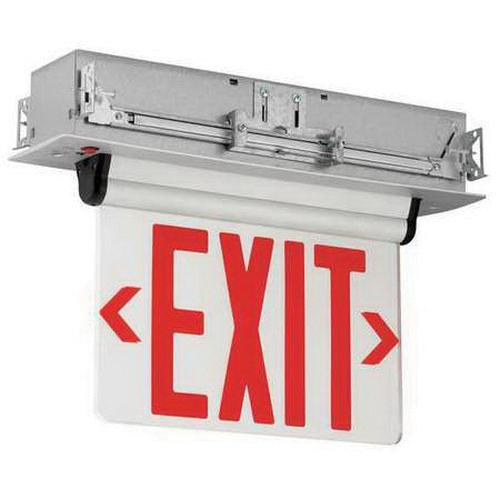 Hubbell Lighting CELR2RNE Emergency CEL Series Double Face LED Edge-Lit Exit Sign Brushed Aluminum Housing Red Letter 120/277 Volt Compass®