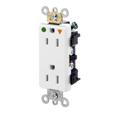 Leviton 16262-IGW Hospital Grade Tamper-Resistant Extra Heavy-Duty Straight Blade Duplex Receptacle 15 Amp 125 Volt NEMA 5-15R White Decora Plus™