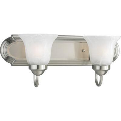 Progress Lighting P3052-09 2-Light Bath and Vanity Fixture 100 Watt 120 Volt 18 Inch Brushed Nickel Plated