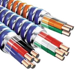 Copper Conductor Steel Armored Lightweight High Voltage MC Cable With Grounding 12/2 250 ft Coil Brown Gray (Phase/Neutral) MC