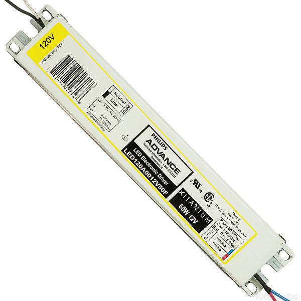 Philips Advance LED120A0012V50FM Electronic LED Driver 120 Volt AC Input 12 Volt DC Output 10 - 60 Watt Output Xitanium