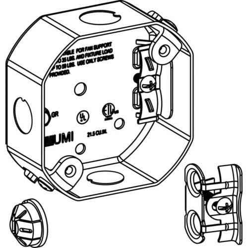 Orbit Industries FSB Sheet Steel Ceiling Fan Support Box 4 Inch x 4 Inch x 1-1/2 Inch 15.5 Cubic-Inch