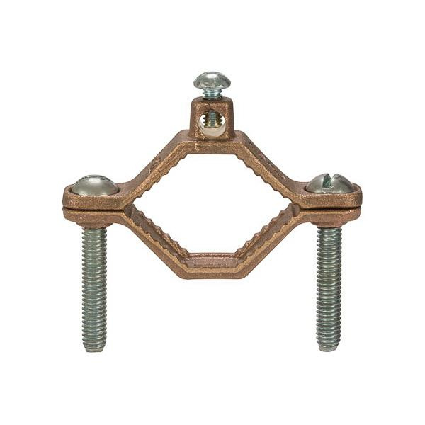 NSI G-2-S Silicon Bronze Heavy-Duty Ground Clamp 1-1/4 - 2 Inch Pipe 10 AWG Solid - 2 AWG Stranded
