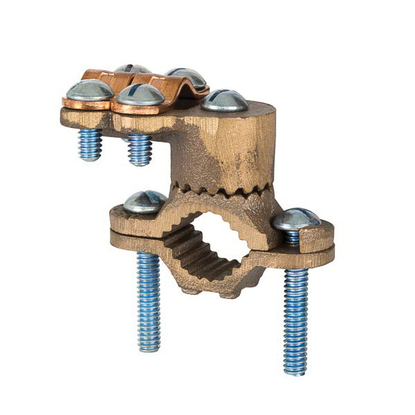 NSI G-3 Silicone Bronze Heavy-Duty Ground Clamp With Armored 1/2 - 1 Inch Pipe 8-4/0 AWG Stranded