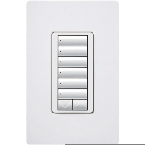 Lutron HQWD-W6BRL-WH Wall Box Mount 6 Button With Raise/Lower ...