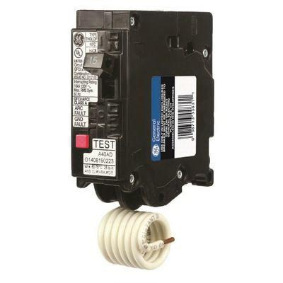 GE Industrial THQL1115DF Plug-In Mount Type THQL Dual Function Ground and Combination Arc Fault Circuit Breaker 1-Pole 15 Amp 120 Volt AC