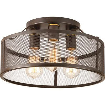 Progress Lighting P3452-20 3-Light Ceiling Flush Mount Ceiling Fixture 60 Watt 120 Volt Antique Bronze Swing
