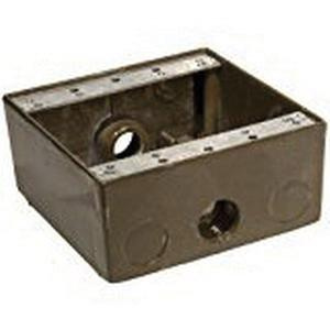 Orbit Industries 2B50-3 Powder Coated Die Cast Copper Free Aluminum 2-Gang Weatherproof Outlet Box 4-9/16 Inch x 4-1/2 Inch x 2 Inch 30.5 Cubic-Inch
