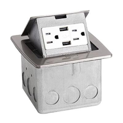 Lew PUFP-CT-SS-2USB Stainless Steel Pop Out Counter Top Plate Floor Box Assembly 4-7/8 Inch x 4-3/4 Inch x 3-1/2 Inch