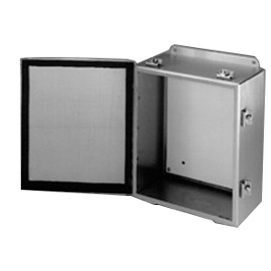 B-Line 664-4XSCHC NEMA 4X #4 Smooth Brushed 304 Stainless Steel One Door Continuous Hinge Cover Enclosure 6 Inch x 6 Inch x 4 Inch