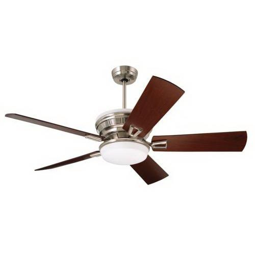 Emerson CF965BS Portland Eco Ceiling Fan With Light 54 Inch 5 Blade 6 Speed Brushed Steel