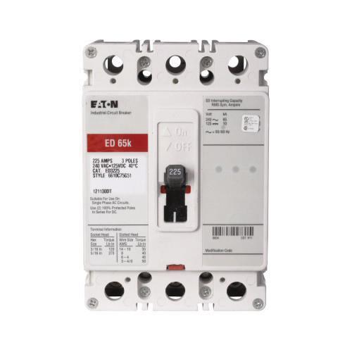 Eaton ED3225 Bolt-On Mount Type ED Molded Case Circuit Breaker 3-Pole 225 Amp 240 Volt AC 125 Volt DC