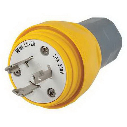Hubbell-Wiring HBL26W48 3-Wire 2-Pole Non-Shrouded Polarized Watertight Locking Plug 250 Volt 1-Phase 20 Amp NEMA L6-20P Yellow Twist-Lock®