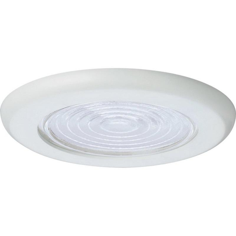 Progress Lighting P8011-60 IC/Non-IC 6 Inch Round Recessed Clear Fresnel Shower Light Trim 1-Light White