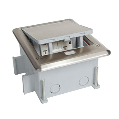 Lew OB-1-SP Stainless Steel Cover Push Button Open Outdoor Floor Box 6-3/4 Inch x 5-3/4 Inch x 3-1/2 Inch
