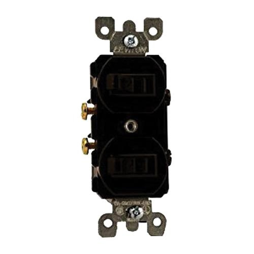 Leviton 5224-2 120/277 Volt AC 15 Amp (2) 1-Pole Duplex Commercial Traditional Grade AC Combination Switch Brown