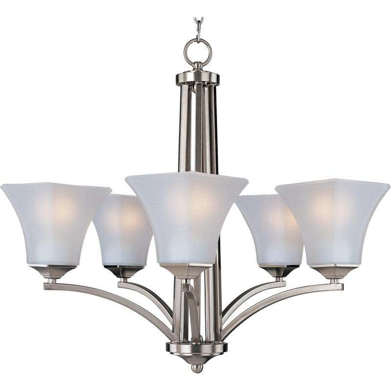 Maxim Lighting 20095FTSN 5-Light Single Tier Chandelier 100 Watt 120 Volt Satin Nickel Aurora