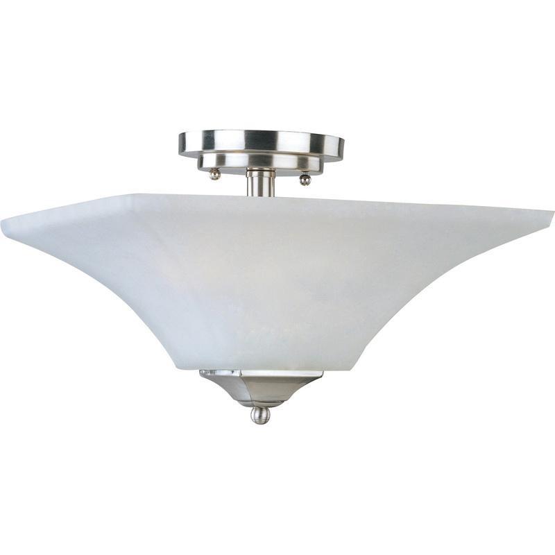 Maxim Lighting 20091FTSN 2-Light Semi Flush Mount Ceiling Fixture 60 Watt 120 Volt Frosted Satin Nickel Aurora