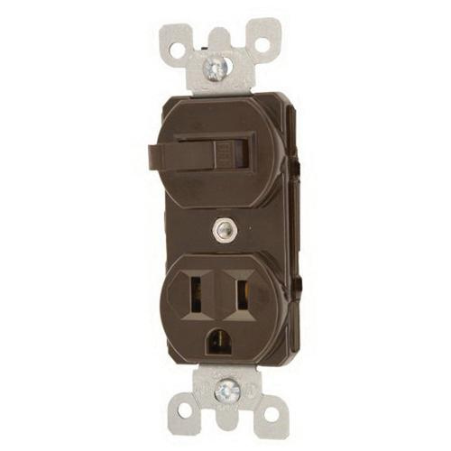 Leviton 5225 1-Pole Duplex AC Combination Receptacle Or Switch Device 120 Volt AC Switch 125 Volt AC Receptacle 15 Amp NEMA 5-15R Brown
