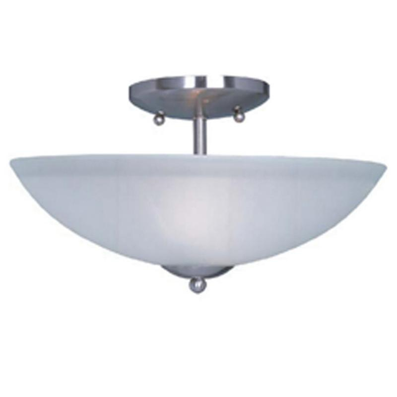 Maxim Lighting 10042FTSN 2-Light Semi Flush Mount Ceiling Fixture 60 Watt 120 Volt Satin Nickel Logan