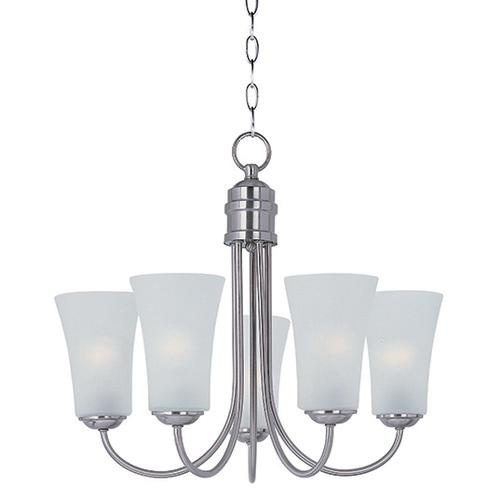 Maxim Lighting 10045FTSN 5-Light Single Tier Chandelier 60 Watt 120 Volt Satin Nickel Logan