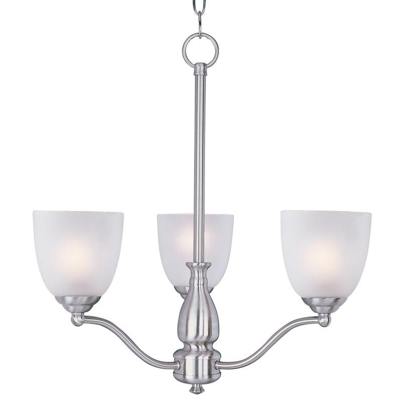 Maxim Lighting 10064FTSN 3-Light Single Tier Chandelier 60 Watt 120 Volt Satin Nickel Stefan