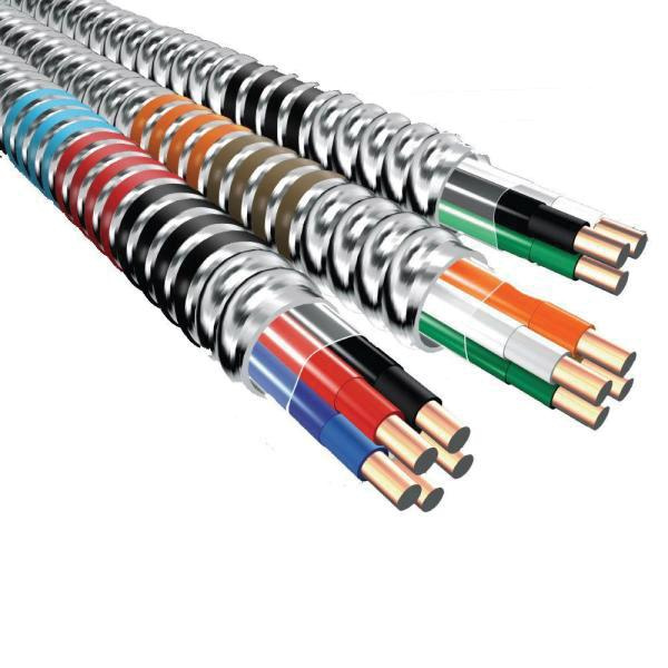 Copper Conductor Aluminum Armored Traditional MC Cable With Grounding 10/2 250 ft Coil Black/White MC