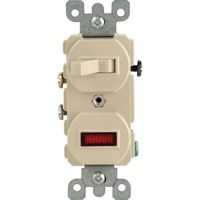 Leviton 5226-I 1-Pole Duplex AC Combination Switch With Neon Pilot Light 120/277 Volt AC Switch 120 Volt AC Neon Pilot Light 15 Amp NEMA 5-15R Ivory