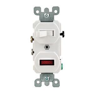 Leviton 5226-W 1-Pole Duplex AC Combination Switch With Neon Pilot Light 120/277 Volt AC Switch 120 Volt AC Neon Pilot Light 15 Amp NEMA 5-15R White