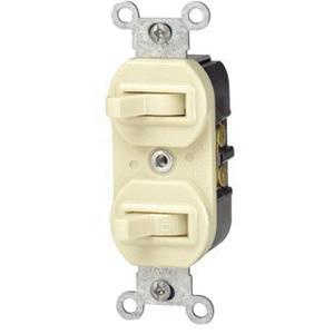 Leviton 5241-I 120/277 Volt AC 15 Amp 1-Pole 3-Way Duplex Commercial Grade AC Combination Switch Ivory