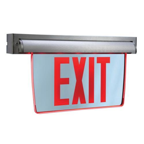 Cooper Lighting Eux7 R Eux Series Self Ed Led Exit Sign Brushed Aluminum Housing Red Letter 120 277 Volt Sure Lites
