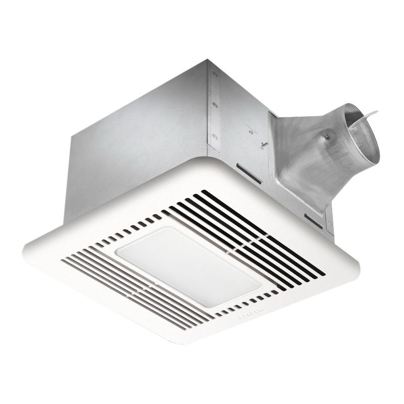 Delta SIG110LED Full Speed Ventilation Fan With Light 4 Inch Duct 110 CFM at 0.1 Inch Static Pressure 94 CFM at 0.25 Inch Static Pressure Energy Star®