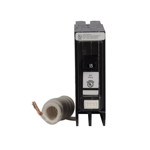 Eaton CL115GFTCS Plug-In Mount Type CL Clam Shell Ground Fault Circuit Breaker 1-Pole 15 Amp 120/240 Volt AC
