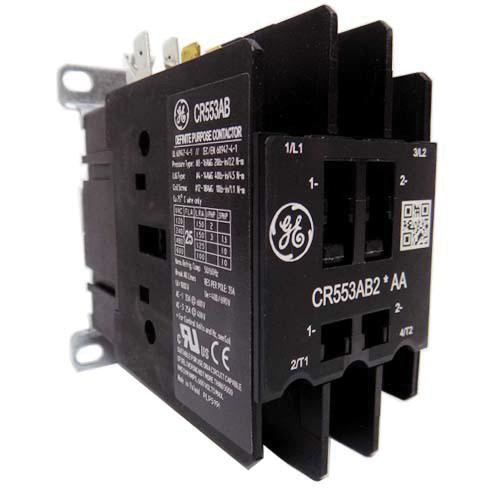 GE Industrial CR553AB2AAA 2 Pole Open Type CR553 Series Full Voltage Definite Purpose Contactor 25 Amp 115 - 120 Volt AC