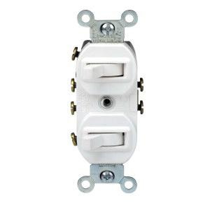 leviton 5243-w 120/277-volt ac 15-amp (2) 3-way duplex commercial grade ac  combination switch white - toggle switches - switches - wiring devices -  wiring