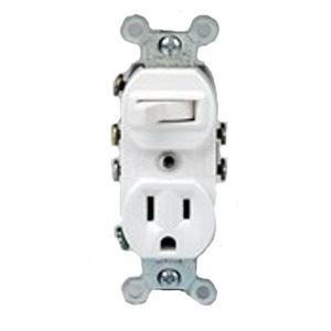 Leviton 5245-W Duplex 3-Way AC Combination Receptacle Or Switch Device 120/277 Volt Switch 125 Volt Receptacle 15 Amp NEMA 5-15R White