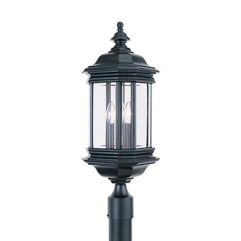 Sea Gull Lighting 8238-12 3-Light Outdoor Post Lantern 60 Watt 120 Volt Black Lancaster