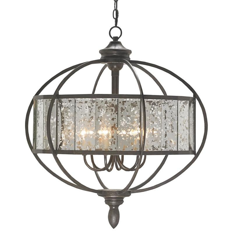Currey Lighting 9330 6-Light Single Tier Mid Size Chandelier 60 Watt 120 Volt Bronze Gold/Raj Mirror Florence