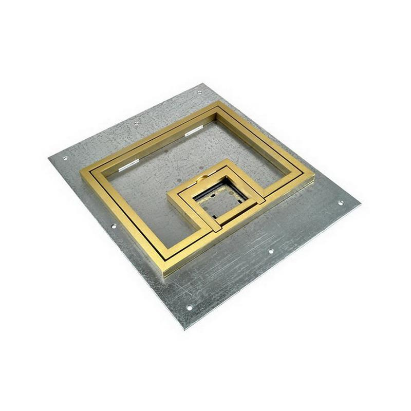 FSR FL-500-P-B-C-U-FL500P Steel U-Access Floor Box Cover With 1/2 Inch Brass Square Flange (Lift Off Door) 10.5 Inch x 0.125 Inch x 12.5 Inch FL-500 Series