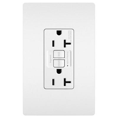 Pass & Seymour 2097-TRW Specification Grade Tamper Resistant Self-Test GFCI Duplex Receptacle 20 Amp 125 Volt AC NEMA 5-20R White Radiant®